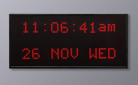 DAC-92420V-R Red Vertical Alpha Calendar Clock