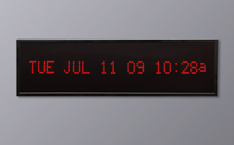 DAC-92412H-R Red Horizontal Alpha Calendar Clock