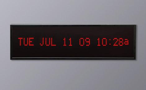 DAC-92412H-R Red Horizontal Alpha Calendar Clock