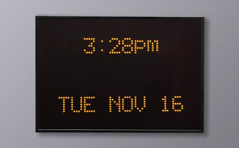 DAC-92412V-Y Yellow Vertical Alpha Calendar Clock